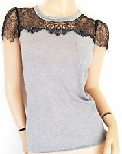 RED VALENTINO Black Lace and Grey Flannel Blouse (Size IT40) (retail £180)
