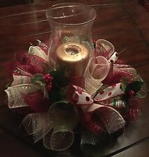 Christmas Table Arrangement Wreath Centerpiece Deco Mesh Holiday Holly Ribbon