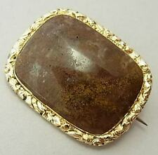 UNUSUAL ANTIQUE EARLY VICTORIAN 15CT GOLD & CHALCEDONY BROOCH