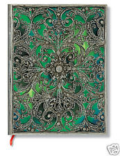 Paperblanks Writing Blank Lined Ultra Size Journal Silver Filigree Emerald 7x9