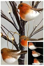 3 ROBIN BIRD CHRISTMAS TREE BAUBLES DECORATIONS