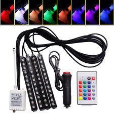 4x12LED Car Remote Control Interior Atmosphere RGB Light Strip Neon Lamp Decor