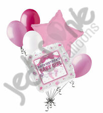 7pc Baby Girl Birth Certificate Balloon Bouquet Party Shower Gender Reveal It's