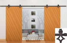 12FT Dark Coffee Country Style Barn Wood Double Sliding Door Hardware Close