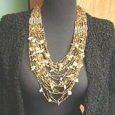 "BRASS TONE ""RAJASTHANI"" TRIBAL INDIAN AMBER BEADED SHELL 24 STRAND  NECKLACE!!"