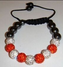 STRINGLESS Shamballa BRACELET 9 Disco Ball Clay Bands Beads Crystals Red/silver