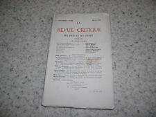 1921.Revue critique des idées et des livres.La Fontaine.Collectif