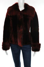 Via Venet Red Shearling Leather Reversible Jacket Size Small New With Tags