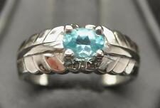 .7 CT APATITE .925 STERLING SILVER MENS DECO STLE PINKY RING SIZE 7.75 NEON BLUE