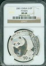 2001 SILVER PANDA 1 Oz. BULLION 10Y S10Y 10-Yuan 10-Yn CHINA NGC MS68