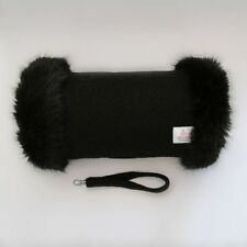 Harris Tweed Jet Black Hand Muff Warmer with Premium Black Fur Trim UK Handmade