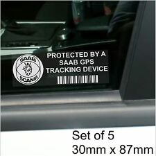5 x SAAB GPS Tracking Device Security Stickers-9-3 9-5 9000-Car Alarm Tracker