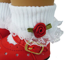 White Lace Trim Socks w/ Red Rosebuds for American Girl Doll Clothes