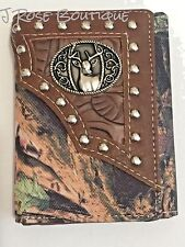 BROWN TRI FOLD CAMO  DEER DOE BUCK CAMOUFLAGE LEATHER MENS WALLET WESTERN RODEO