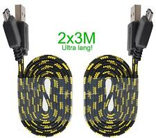 2x 3m Nylon extra lang Ladekabel Playstation 4 PS4 Xbox One Controller Micro USB