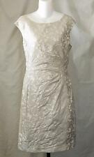 RALPH LAUREN size 10 Silver Gray Damaske Ruched Dress Green Tag Sleeveless NWT