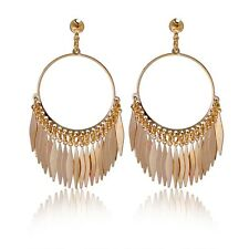 New 18K Yellow Gold Filled Women Hoop Fashion Exaggerate Earrings Hot