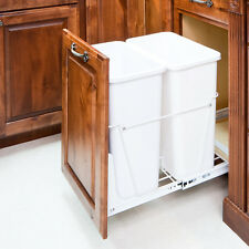 35 Quart- White Double-Trash Can Pull-Out System with White Cans & Doorkit