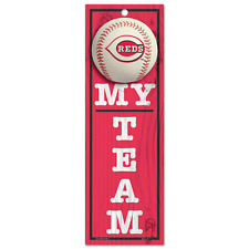 "MLB Cincinnati Reds   - 4"" x 13"" Wood Type Sign - My Team -  New"