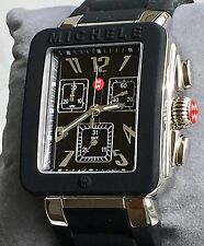 NWT MICHELE PARK JELLY BEAN BLACK & SILVER CHRONOGRAPH WATCH MWW06L000002 $345