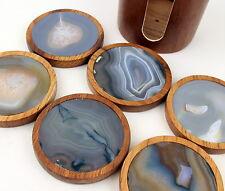 Achat Untersetzer im Holzgestell , Glasuntersetzer, Vintage, Edelstein