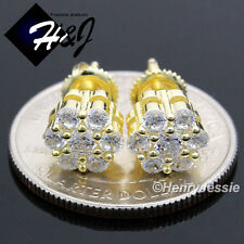 925 STERLING SILVER 8MM LAB DIAMOND BLING ROUND SCREW BACK GOLD STUD EARRING*E68