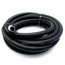 """AN-10 9/16"""" 14MM Black NYLON Braided RUBBER Fuel Oil Cooler Hose Pipe 6 Metre"""