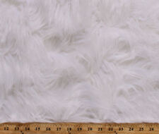 White Luxury Faux Long Hair Fur Acrylic Blend Fabric By the Yard A614.09