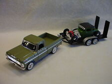 Trackside 69 Ford Pick-up & Rat Rod on a dual axle trailer 1:24th scale