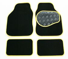 MG TF (02-05) Black & Yellow 650g Carpet Car Mats - Salsa Rubber Heel Pad