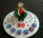 Edible handmade man, tv remote, birthday cake topper/decoration,60th 70th 80th