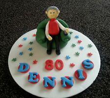 Hombre hecho a mano comestible, control remoto de TV, Cumpleaños Cake Topper/Decoración, 60th 70th 80th