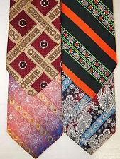 4 pc Vtg 70's WEMBLEY Men WOVEN ATOMIC Necktie LOT MoD FAT WIDE Neck Tie RETRO
