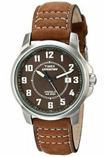 "Timex T49891, Men's ""Expedition"" Brown Leather Watch, Indiglo, Date, T498919J"