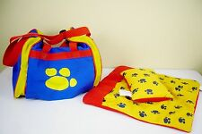 Build-A-Bear Workshop Pet Carrier Blanket & Pillow Set Blue Red Yellow