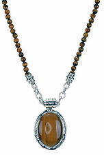 "Sterling Silver Tiger's Eyes Pendant Necklace 17"" Long"