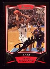 DERON WILLIAMS 2008 BOWMAN Autographed Signed AUTO BASKETBALL Card JAZZ 80