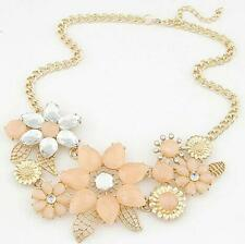 Fashion Flower Crystal Pendant Chain Choker Chunky Statement Bib Necklace LF