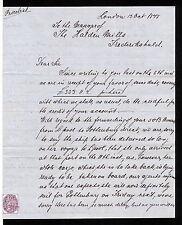 GBAB 40 GB QV 1875 letter to Norway Frederikshald Halden revenue stamp