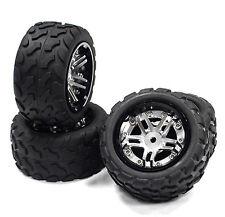 Integy T3528SILVER Aluminum Wheel Rims + Tire 1/16 Traxxas E-Revo Slash Summit
