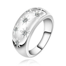 Simple fashion 1pcs S80 silver The crystal rings Size9 SD56