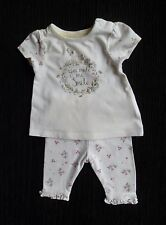 Baby clothes GIRL premature/tiny<7.5lbs/3.4kg outfit SS white/pink leggings/top