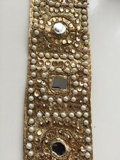 ATTRACTIVE INDIAN GOLD SQUARE & ROUND MIRRORS and PEARLS TRIM/LACE-sold By METER