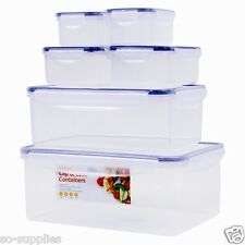 6 X CLIP & LOCK PLASTIC FOOD STORAGE CONTAINER TUB RECTANGULAR SCHOOL OFFICE