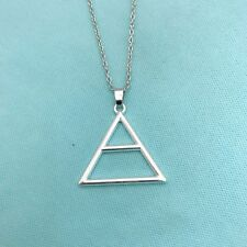 "Beautiful Silver Triad Triangle with 20"" Long Silver Chain Necklace."