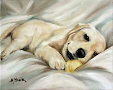 MARY SPARROW Yellow Labrador Retriever Labs Dog Puppy Oil Painting PRINT