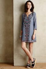 ANTHROPOLOGIE by Corey Lynn Calter Sayulita Tunic Embroidered Detail Blue SMALL