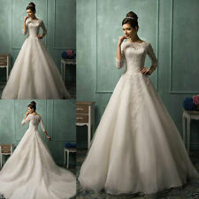 2016 Amelia Sposa Sheer 3/4 Long Sleeve Lace A Line Wedding Dresses Bridal Gowns