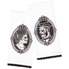 SOURPUSS ZOMBIE CAMEO TEA TOWEL SET. VICTORIAN GOTHIC KITCHENWARE. HORROR.