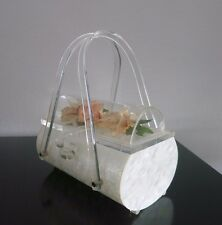"RARE VINTAGE LUCITE BAG ""COFFIN"" _Clear Dome & Flowers_by Harry Litwin_1950 `s_"